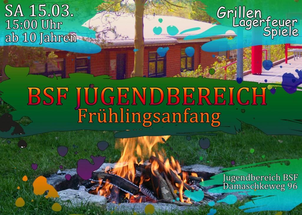 [Beschreibung] Am Samstag den 15.03.2014 wollen wir mit allen Kinder und Jugendlichen des Stadtteils Richtsberg ab 10 Jahren den Frühling begrüßen. Es gibt Würstchen, ein kleines Lagerfeuer und Spiele. Wir freuen uns auf Euer kommen...